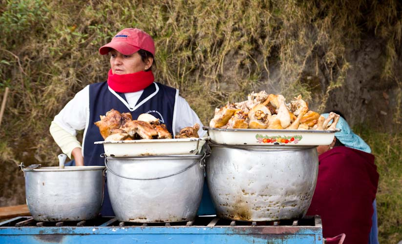 Ecuador: Otavalo - Saturday Animal market: ... and ready for lunch