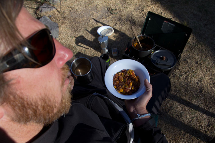 Ecuador: Pululahua Crater - breakfast: chilli and coffee