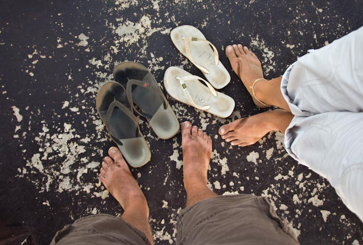 Nicaragua: Masaya National Park; dirty feet after hiking with flip flops
